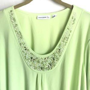 Susan Graver Tops - Susan Graver Neon Green Top Pearl V Front Sz 2X